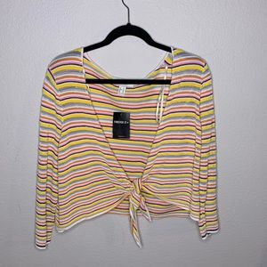 multi colored striped tie up shirt